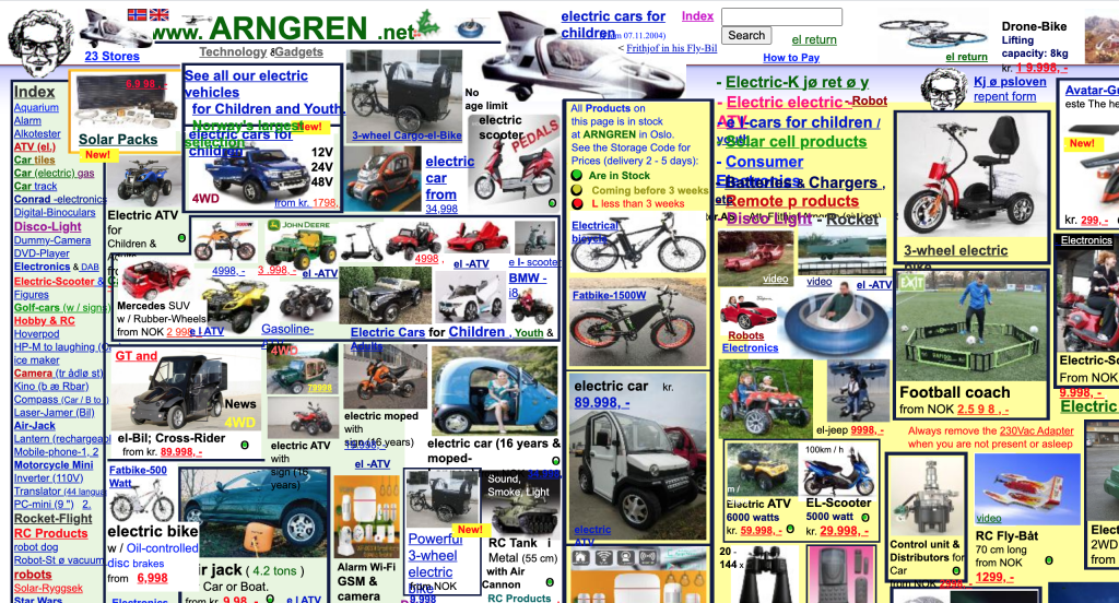an example of really bad balance in web design, some random website with random images all over