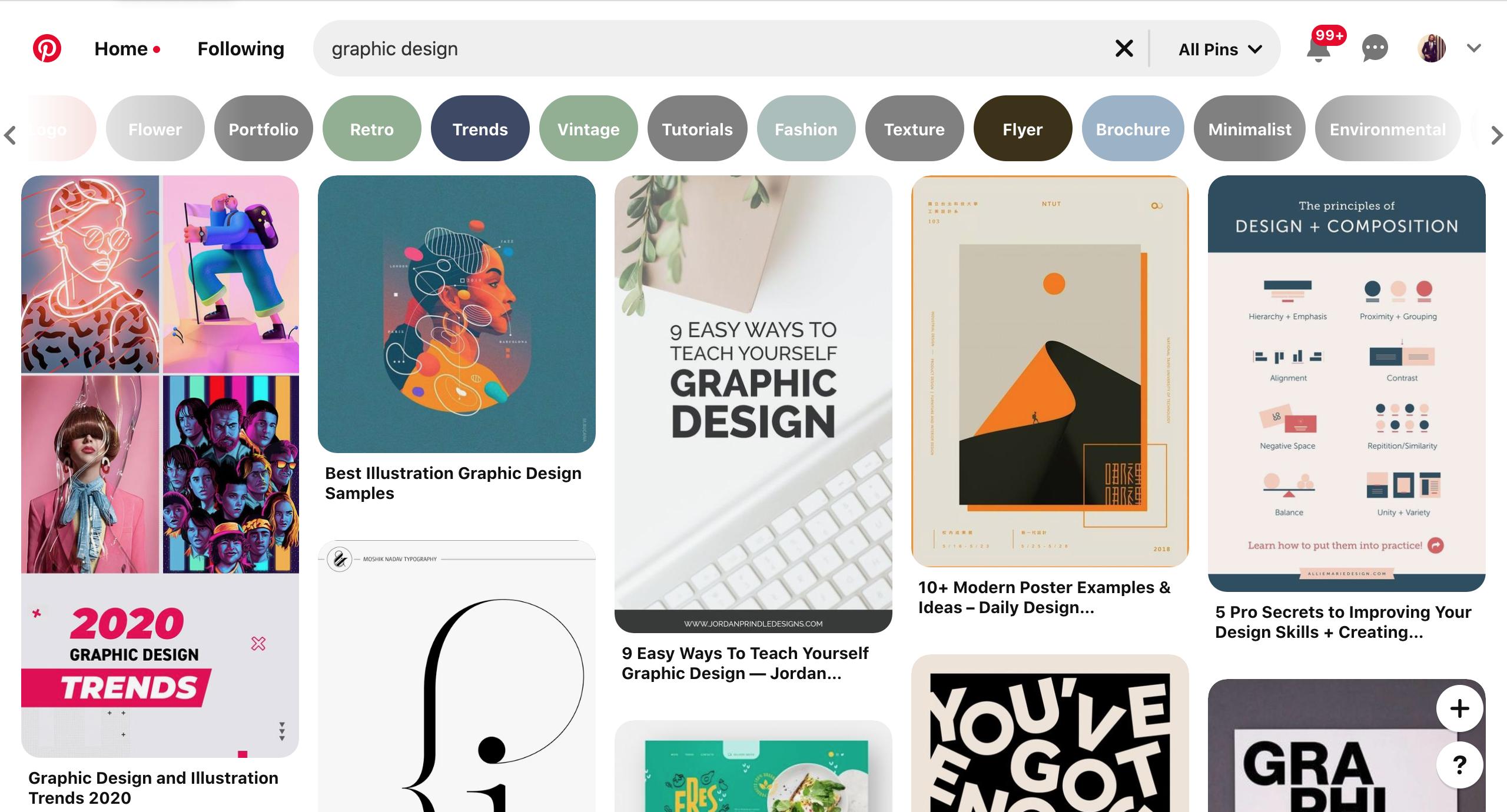 Pinterest's layout mosaic balance