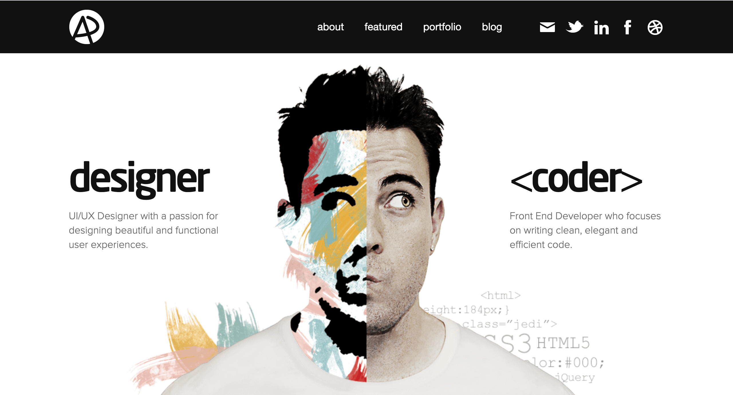 web landing with a face which is divided into two parts desingner and coder symmetrical balance