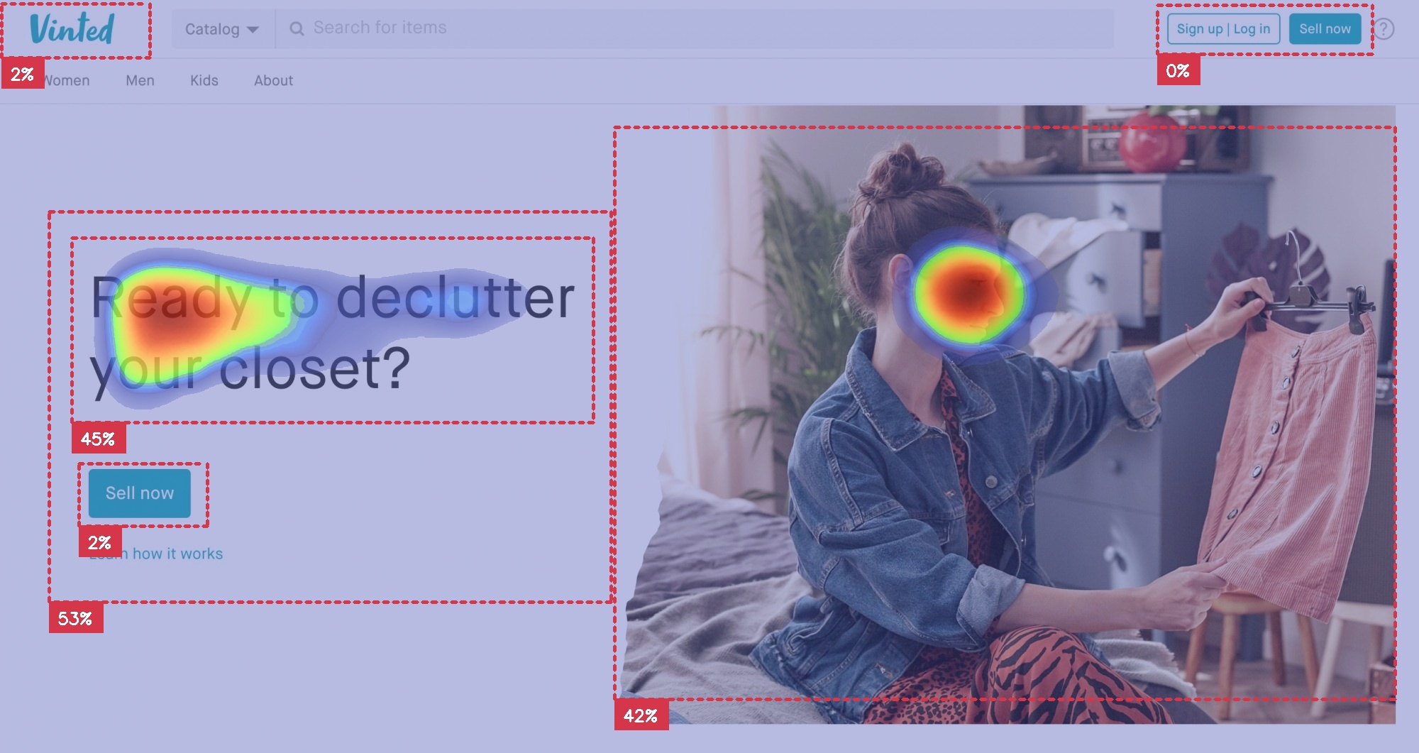 Vinted landing page with Attention Insight heatmap