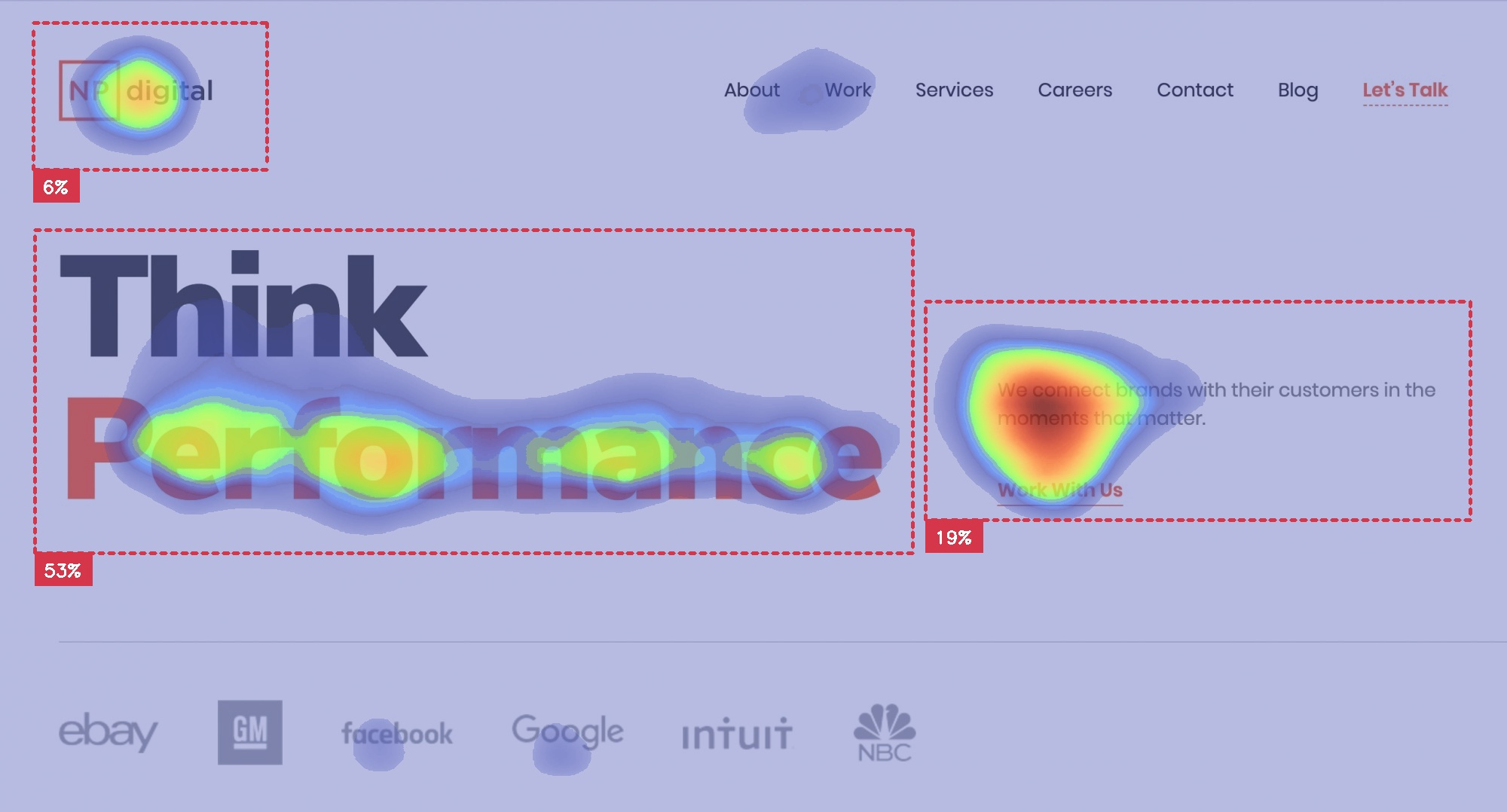 landing page of Neil Patel with key message highlighted with size contrast with Attention Insight heatmap