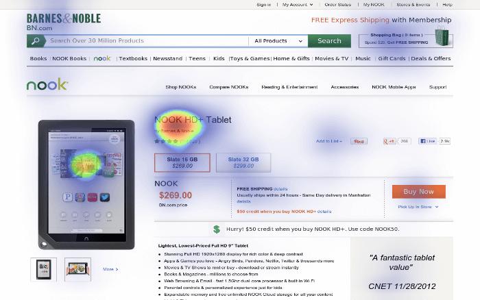 predictive eye-tracking heatmap of Amazon subpage