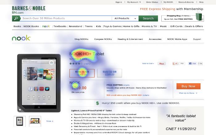 eye-tracking heatmap of Amazon subpage