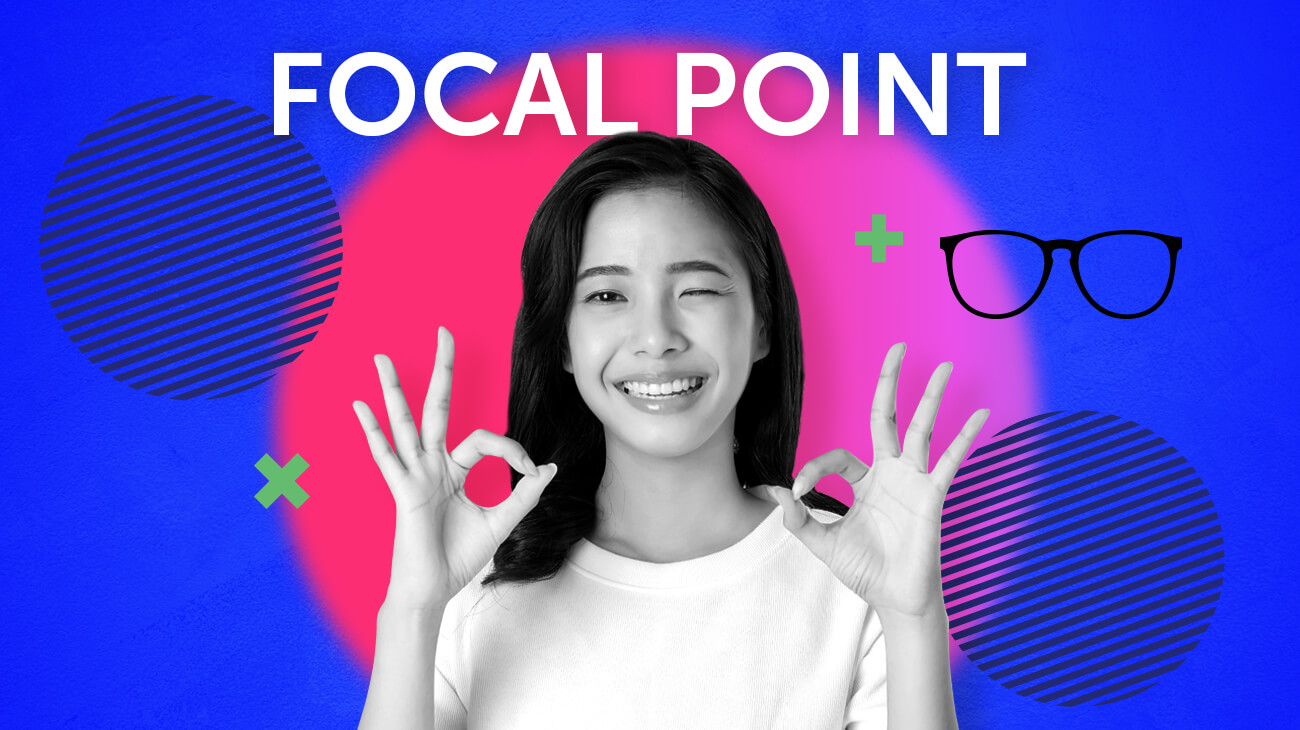 focal point headline and woman's face