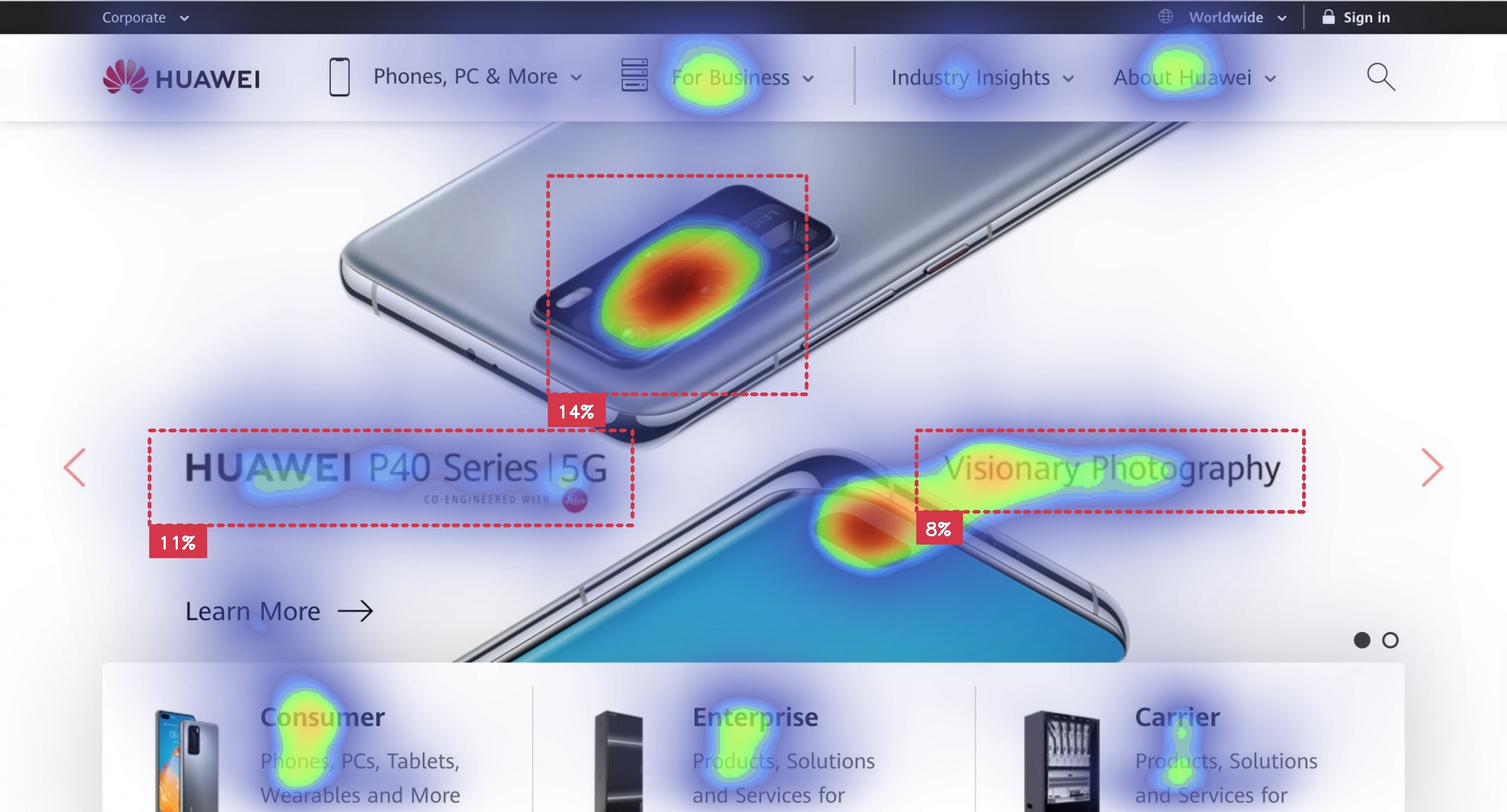 Huawei landing page with P40 Series and main message with buttons with attention insight heatmap