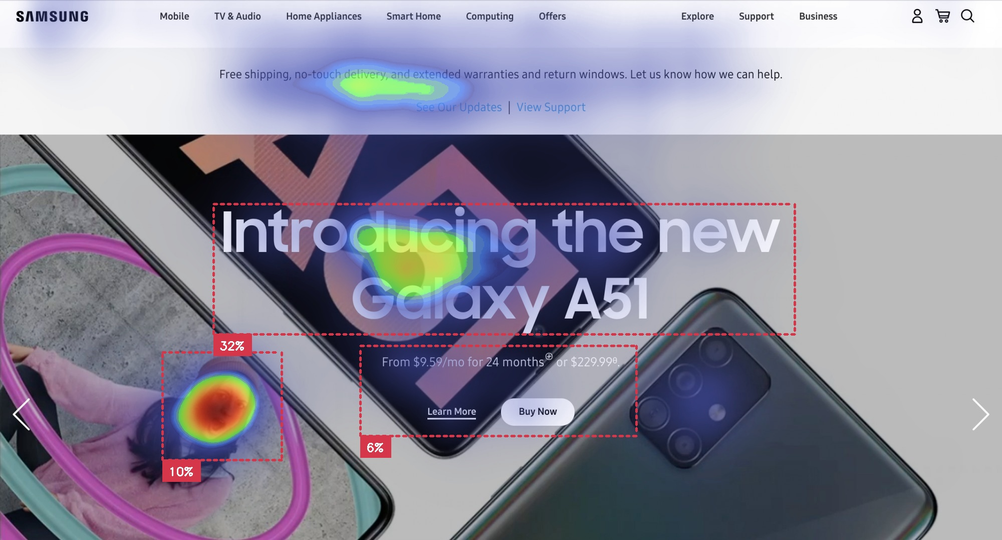 Samsung landing page with Galaxy A51 and main message with buttons with attention insight heatmap