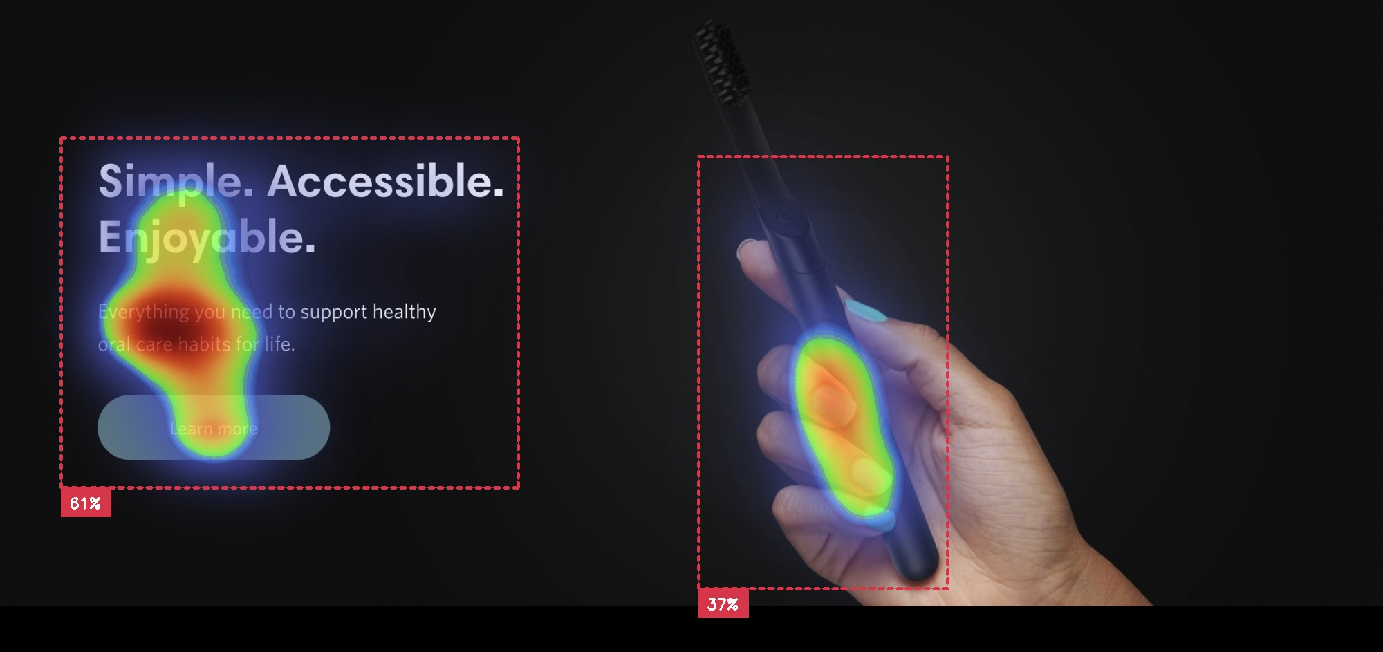 toothbrush in a hand with heading and button lots of black space with attention insight heatmap