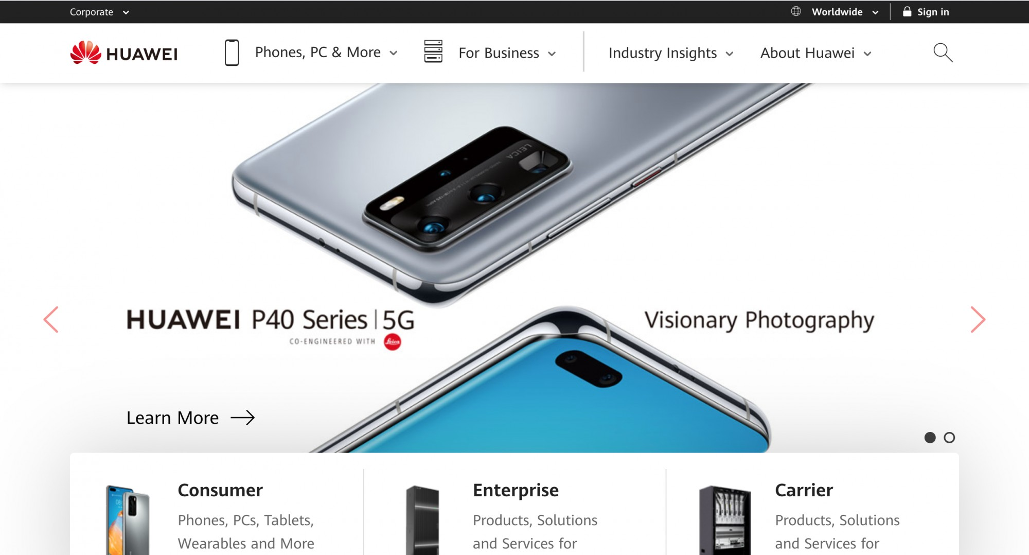 Huawei landing page with P40 Series and main message with buttons