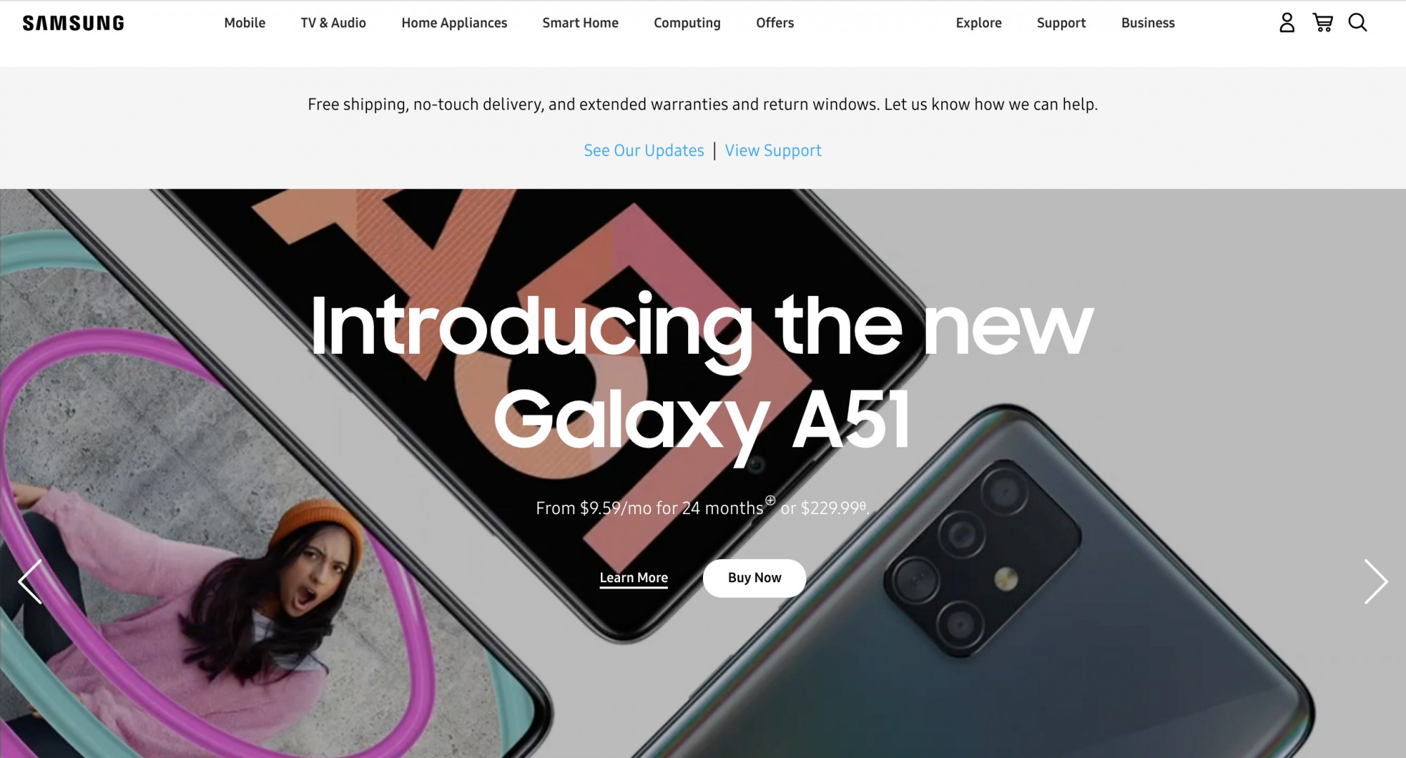 Samsung landing page with Galaxy A51 and main message with buttons