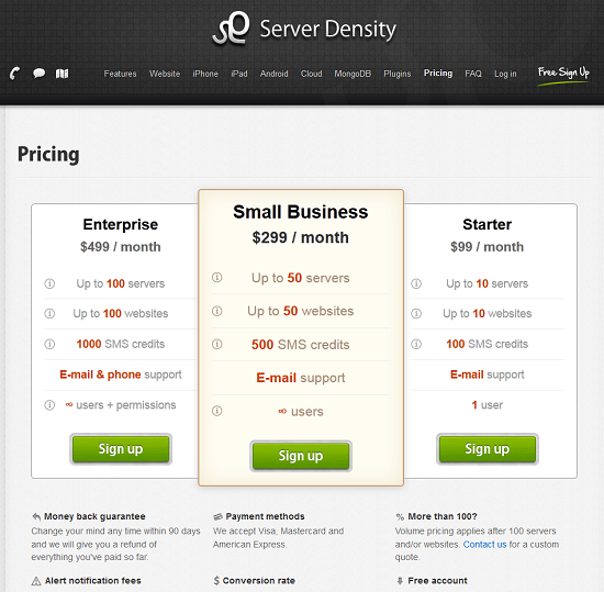 pricing page where middle pricing plan is highlighted with size and color contrast