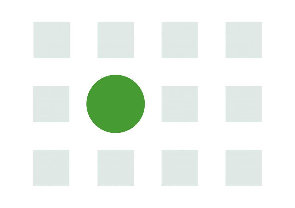 focal point as a green circle